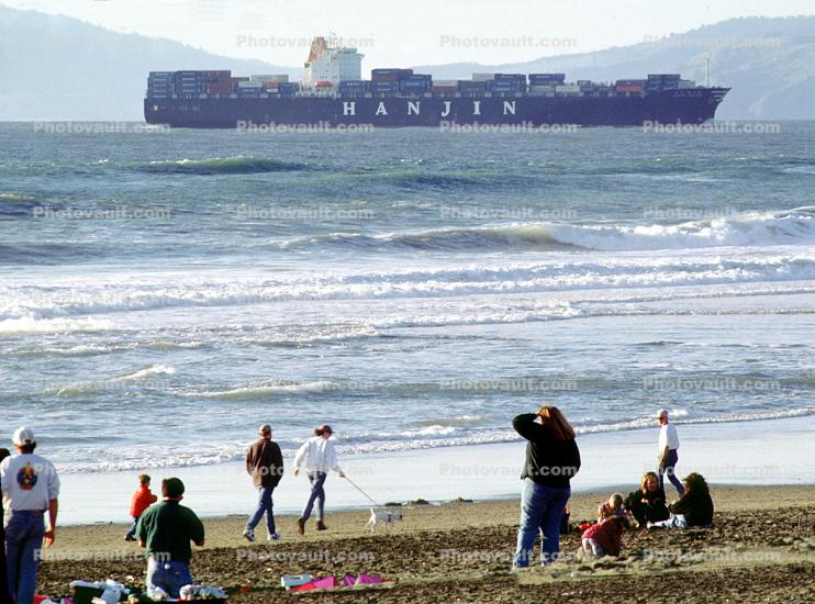 Hanjin Line, Marin Headlands, Baker Beach, Pacific Ocean, Waves, People, Ocean-Beach