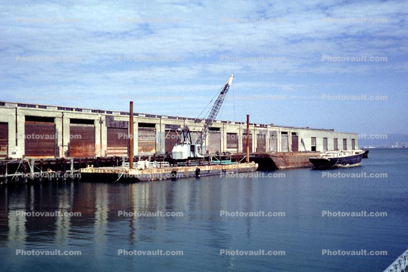 barge, Crawler Crane, Dock, Harbor, Pier