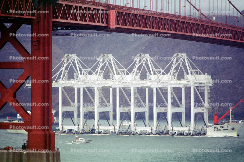 Zhen Hua 4, Heavy lift vessel, shipping large cranes from China to Oakland, Golden Gate Bridge, Gantry Cranes, IMO: 7354292
