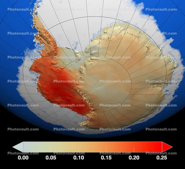 Antarctica, Average Temperature Differentials, Climate Change, Continent