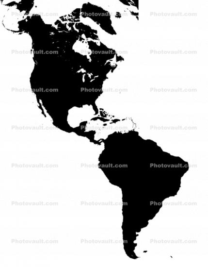 North America, South America, the Americas silhouette, land masses, the Western Hemisphere, the Americas