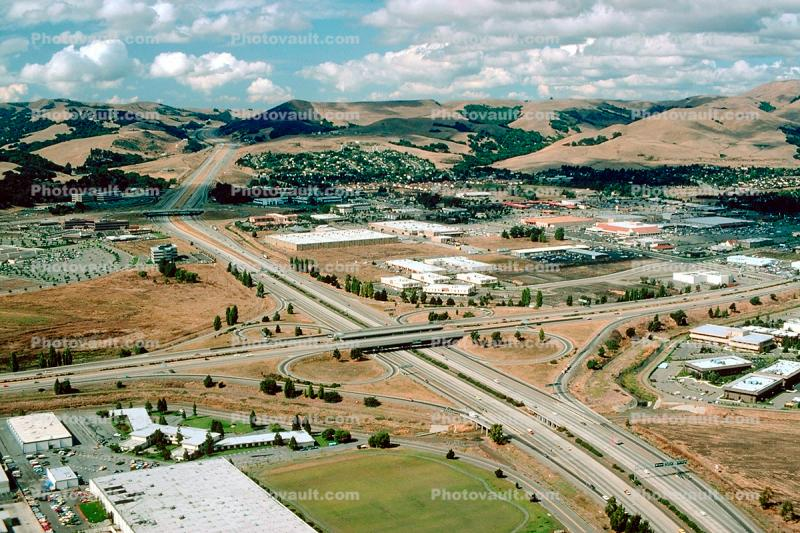 Cloverleaf Interchange, overpass, underpass, freeway, highway, Interstate Highway I-680, I-580