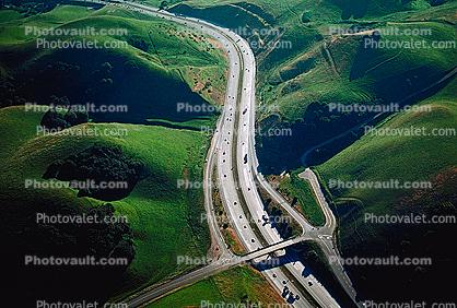 S-Curve, Diamond Interchange, Interstate Highway I-580, Castro Valley, California, Green Hills