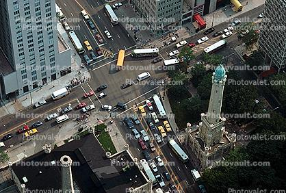 Taxi Cabs, intersection, trucks, Water Tower, Chicago
