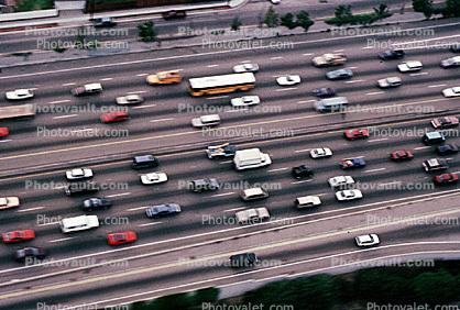 level-C traffic, Interstate Highway I-405, freeway, highway, cars, trucks, buses
