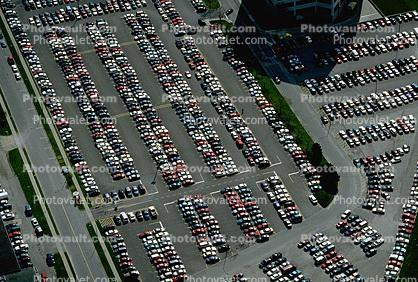 Parking Lot full, parked cars, stalls, automobile, sedan, streets, road