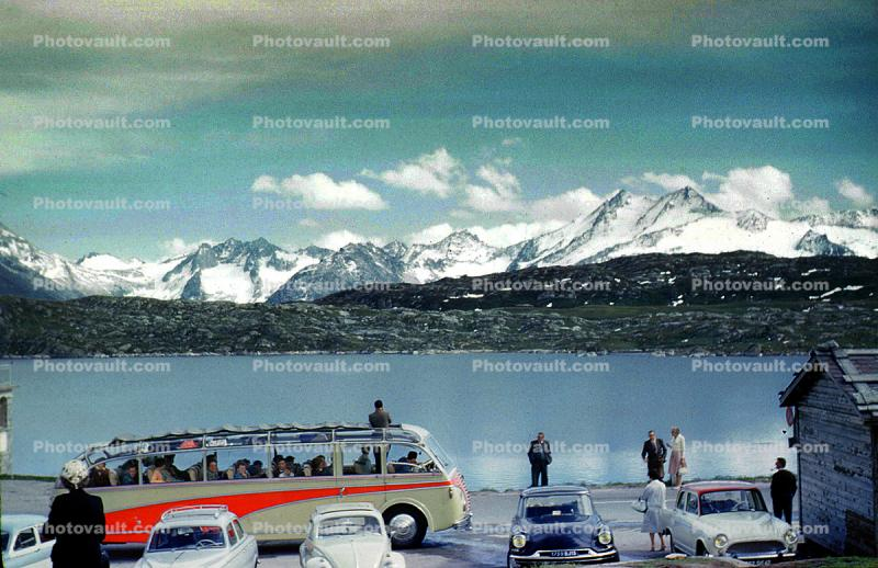 Swiss Alps, Lake, Snow, Car, Vehicle, Automobile, 1961, 1960s