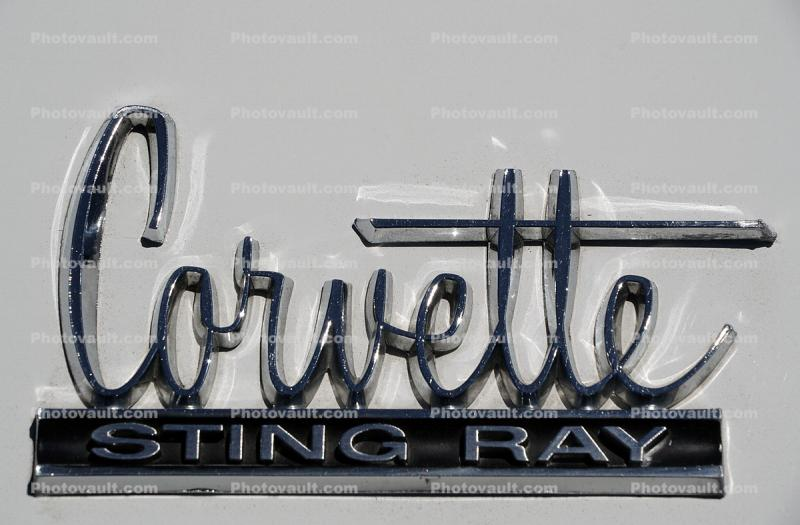1966 Chevy Corvette Sting Ray Hood Emblem, Chrome Letters