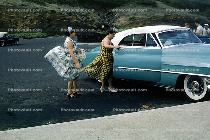 Women, 1953 Cadillac, Cabriolet, Convertible, car, vehicles, Whitewall Tires, Windy, Windblown, 1950s