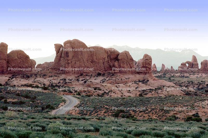 Sandstone Rock, knob, arch, s-curve, Highway, Roadway, Road