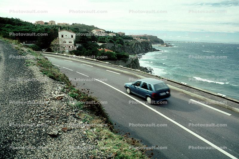 ocean, Vehicle, Car, Automobile, Road, Highway, Roadway, Collioure