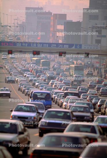 Level-F traffic, Seoul, Car, Vehicle, Automobile, smog