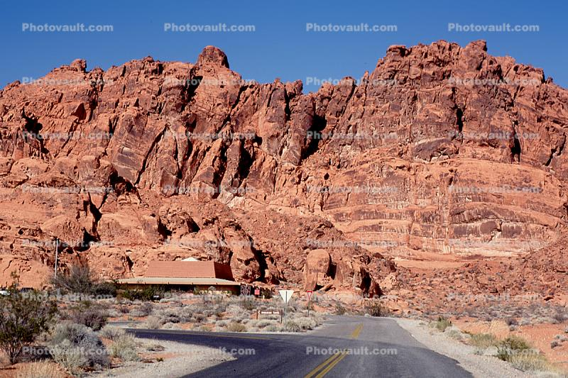 Valley of Fire, east of Las Vegas Nevada, Road, Roadway, Highway, visitors center building, cliffs