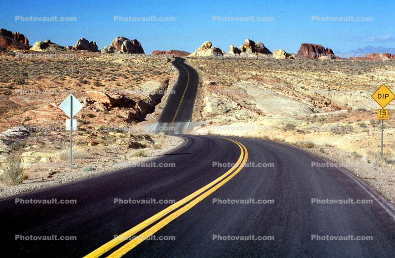 Dip in the Road, Valley of Fire, east of Las Vegas Nevada, Road, Roadway, Highway