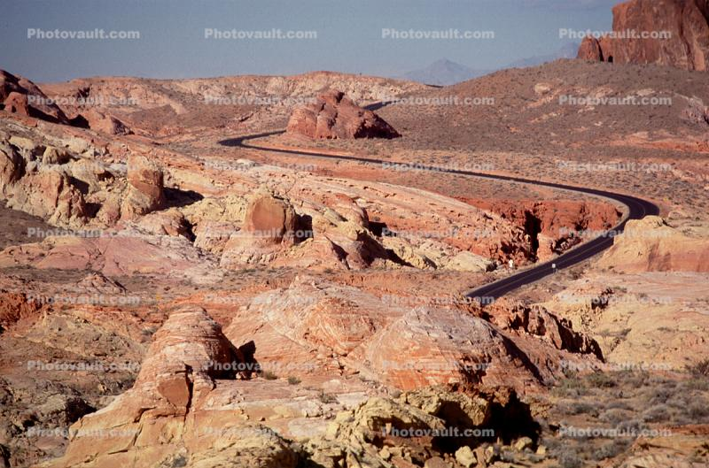 Valley of Fire, east of Las Vegas Nevada, Road, Roadway, S-Curve Highway