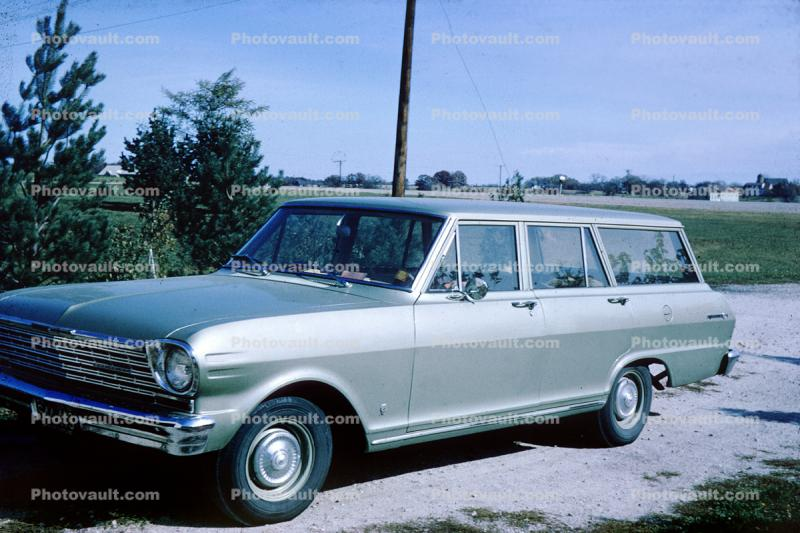 Chevy Nova Station Wagon Car Automobile Vehicle 1960 S