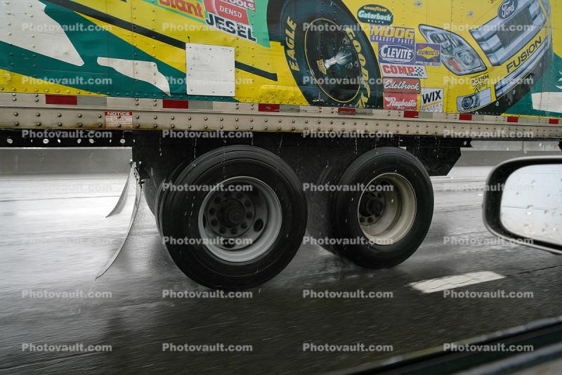 Truck Wheels and Tires in the Rain