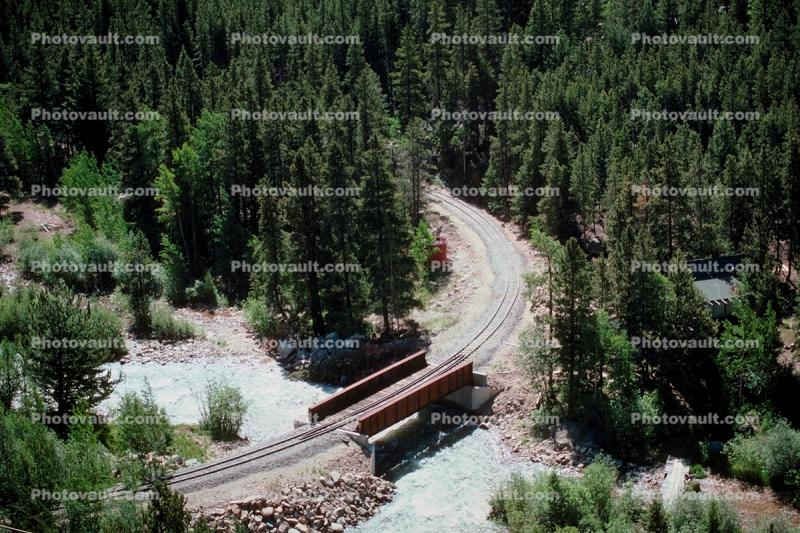 River, forest, bridge, track curve, Rocky Mountains, Colorado