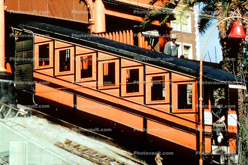 Incline railcar, Angels Flight Incline, Los Angeles, California, October 1971, 1970s