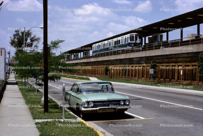 Chevy Impala, Elevated Train, The-El, CTA, 6000 series trainset, June 1965, 1960s