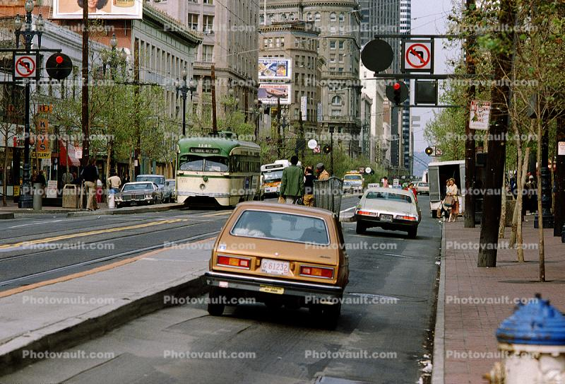 Market Street, Cars, vehicles, Automobile, 1981, 1980's