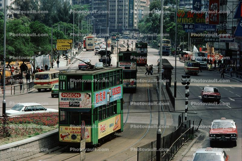 Doubledecker, Trolley, Car, Vehicle, Automobile, Hong Kong, 1982, 1980s
