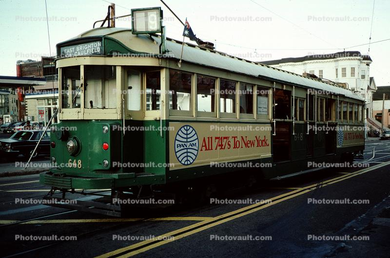 Market Street, F-Line, Trolley type W-2 648, San Francisco, California, Old Time