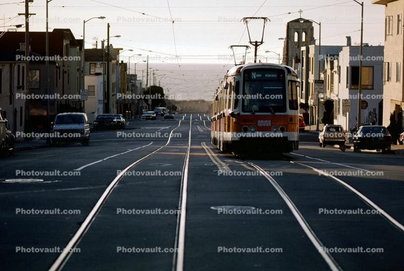 Trolley, Tracks, MUNI, US Standard Light Rail Vehicle, Boeing Vertol USSLRV, N-Judah Line, January 1985
