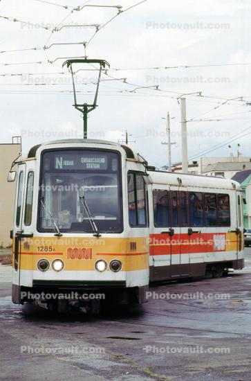 1285A, MUNI head-on, Trolley, Tracks, MUNI, US Standard Light Rail Vehicle, Boeing Vertol USSLRV
