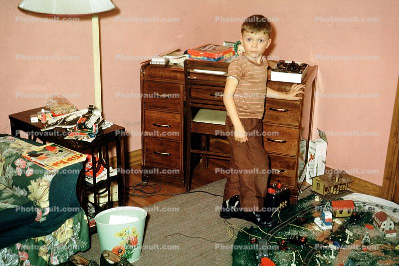 Electric Train, Boy, Desk, 1940s