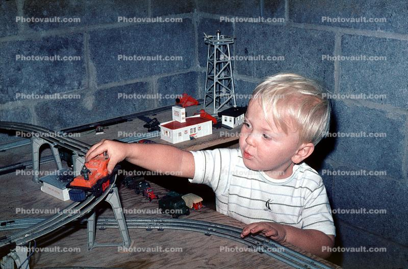 Lionel Train, boy, tracks, 1950s