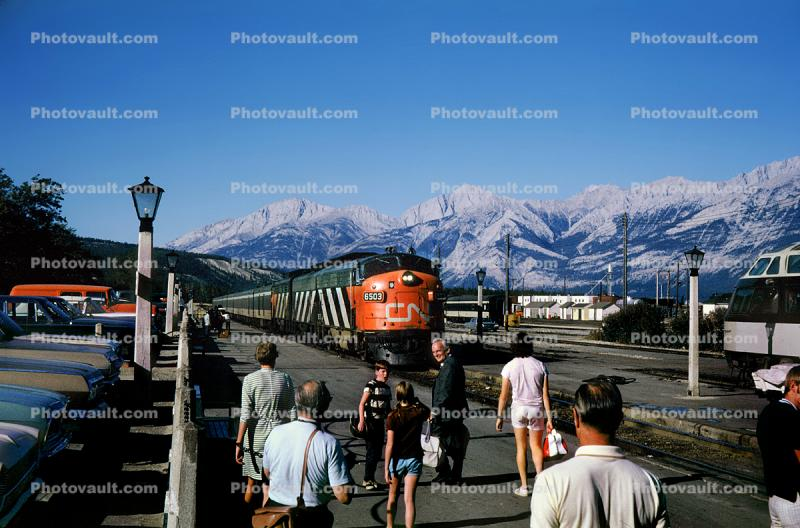 People, Passengers, Canadian National Railways, Diesel Electric Locomotive, F-Unit, August 1970