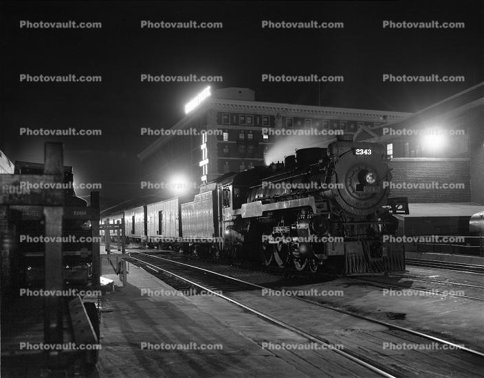 CPR 2343, 4-6-4, Steam Locomotive, Night, nighttime, Canadian Pacific, 1940s