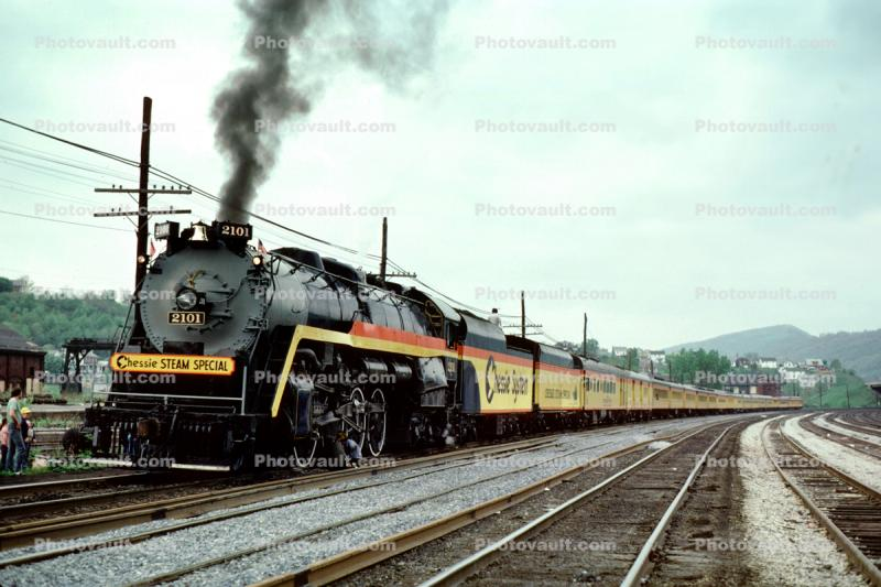 Chessie System, Chessie Steam Special T-1 Steam #2101, Cumberland, MD, 1978, 1970s, Railroad Tracks