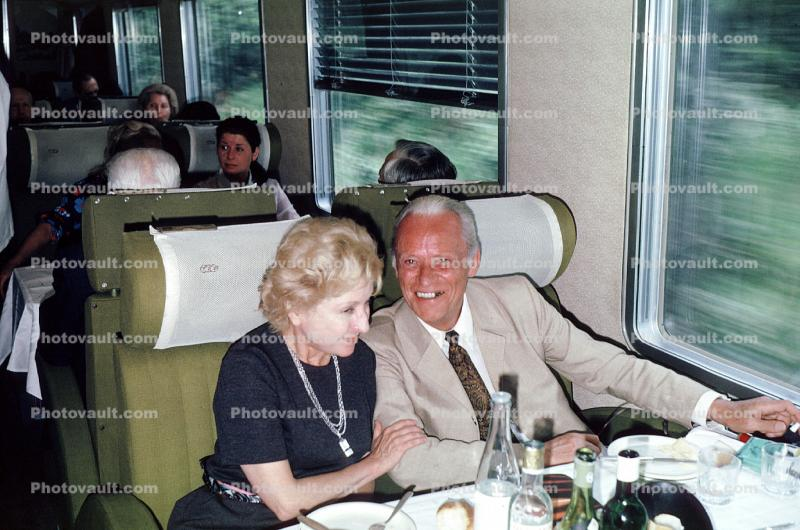 Dining Car, couple eating, smiles, interior, inside, 1950s