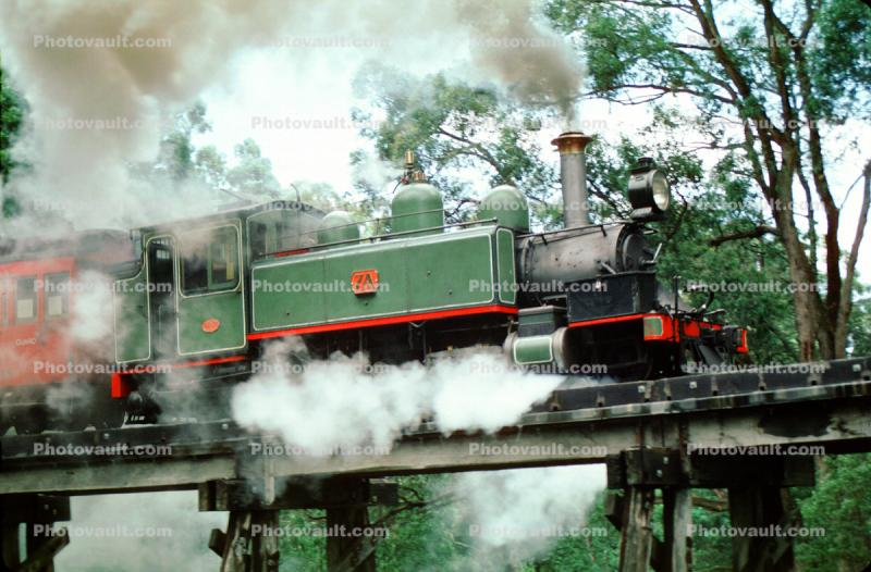 NA class 2-6-2T, steamer on a trestle, locomotive 7A, Puffing Billy steam railway, Melbourne, Australia, Victorian Railways, 1950s