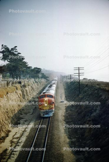 F7A Diesel Train, Coast, Coastal, Del Mar California, 1959, 1950s