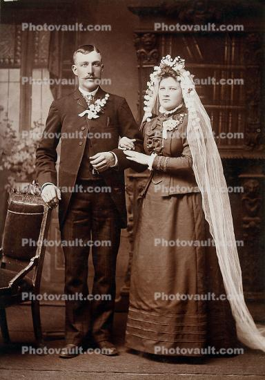 Newly Wed Married Couple, 1880's, RPPC
