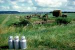 Cow, dairy, tractor, Milk Cans, Hay Bales, stacks, ACFV04P12_18
