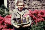 Kittens in a basket, Easter, Smiling Woman, Cute, 1940's