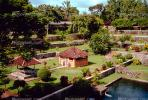 Gardens, pond, paths, steppes, buildings, Lingsar Temple, Lombok Island