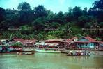 river, Village, water, jungle, boats, shore, harbor, Siberut Island