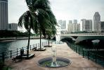 Fountain, Palm Trees, Bridge, Merlion Statue Singapore, Skyline, Buildings, Skyscrapers, Downtown, CAGV01P04_18