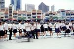 schoolboys, schoolgirls, skyline, buildings
