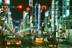 Neon Signs, Highrise Buildings, shops, night, nighttime, Ginza District, CAJV01P08_19