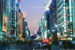 Buildings, shops, highrise, night, nighttime, twilight, dusk, Ginza District, Tokyo, dawn, glitz, CAJV01P15_17