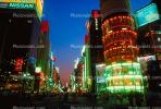 Buildings, shops, highrise, night, nighttime, twilight, dusk, Ginza District, Tokyo, CAJV02P01_01.0628
