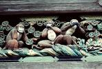 The Three Monkeys, Toshogu Shrine, sacred place, Nikko, CAJV02P06_14