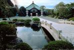arch bridge, pond, garden, Buddhist Shrine, building, Gotemba, CAJV02P11_19.0629