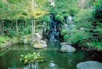 Waterfall, pond, stone, rocks, garden, Buddhist Shrine, Gotemba, CAJV02P12_02.0629